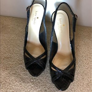 Kate Spade Black strappy Kitten slingback heels